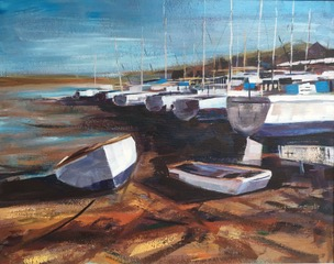 Dell Quay at Rest - Acrylic on board - 70cm x 80cm - by Rob Corfield