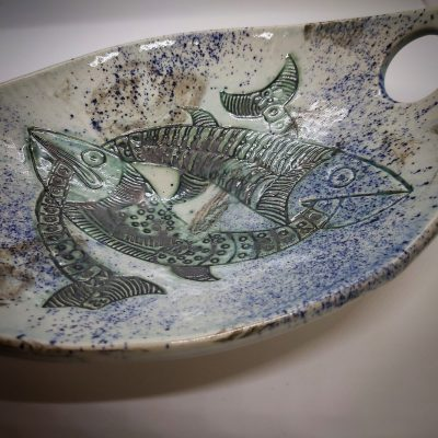 Pisces platter - Glaze/Oxide Stoneware Clay - 30cm approx - by Sarah Amos