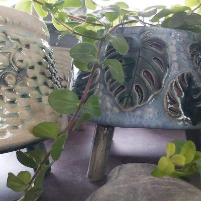 Monstera Wonky Pot - Glaze/Oxide Stoneware Clay - 18cm approx - by Sarah Amos
