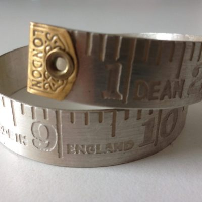 Silver tape measure bracelet - Sterling silver and brass - 8cm x 1  1/2cm - by Victoria Brown