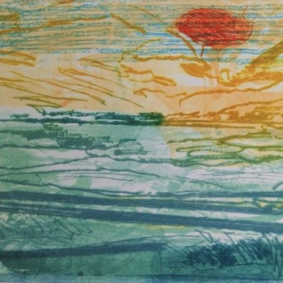 Yonder Sunset - Drypoint & Collograph on acrylic plate - H 29 x W 38cm     framed - by Daphne Casdagli