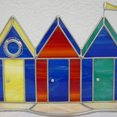 beach huts - stained glass - 20 x 20 cms - by Jane Fowler