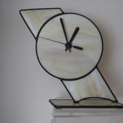slanting clock - stained glass - 20 x 20 cms - by Jane Fowler