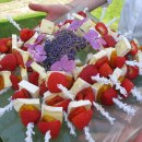 Brie, red pepper and strawberry skewers