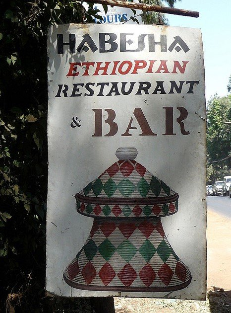 Sign outside Habesha Restaurant Nairobi