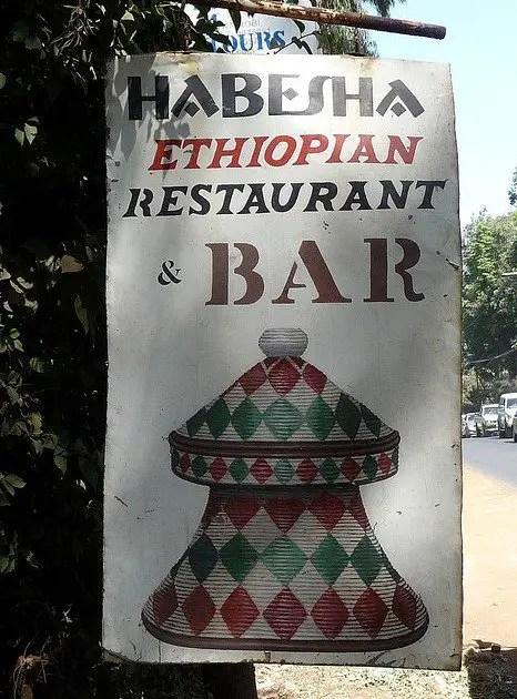 Sign outside Habesha Restaurant Nairobi
