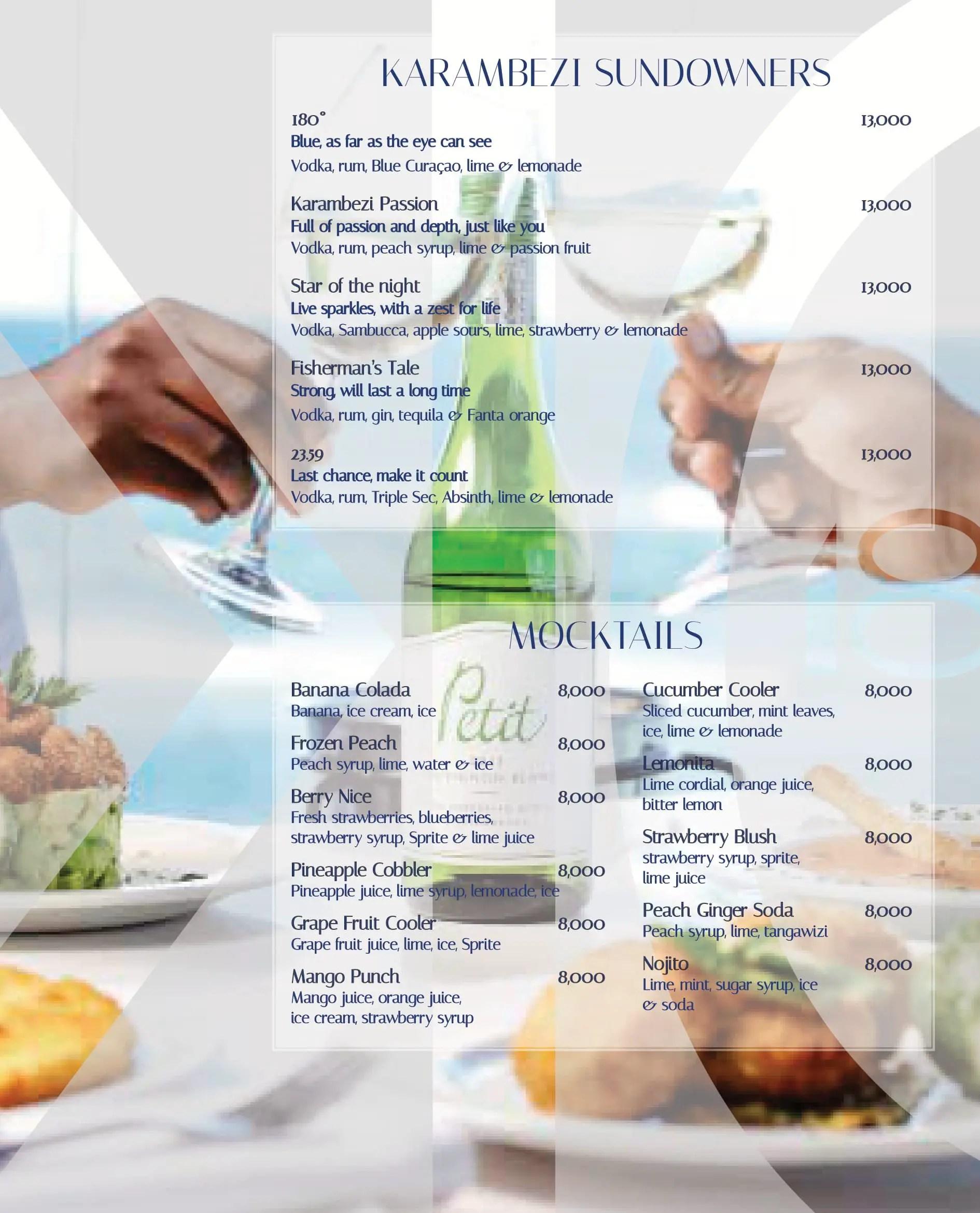 Karambezi drinks menu: sundowners and mocktails