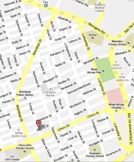 Map: Congo Street, Kariakoo, Dar es Salaam, Tanzania