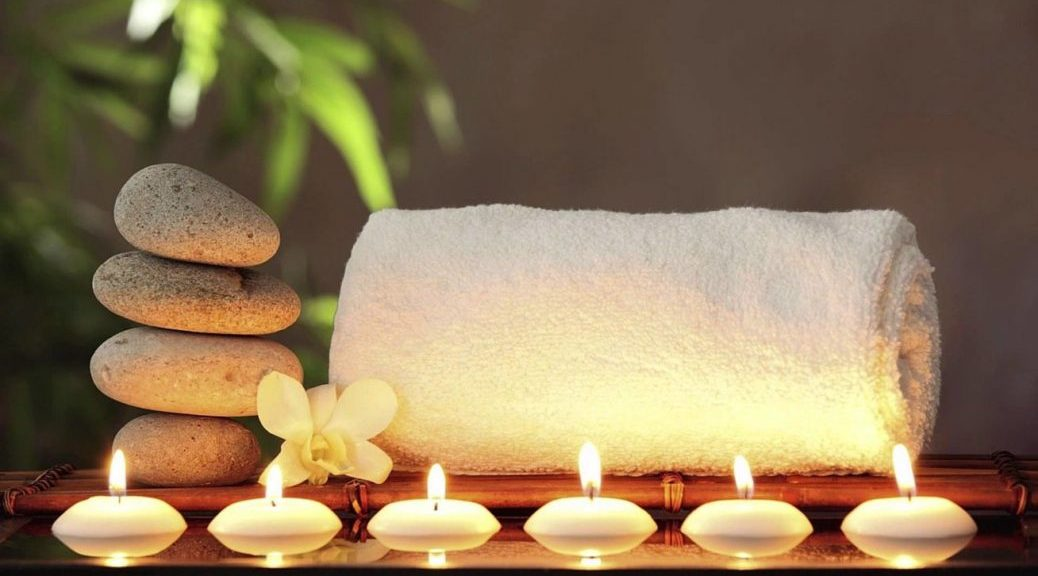 Spa towel candles and rocks