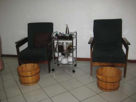 Chairs and pedicure buckets at lemon spa - massage dar es salaam tanzania