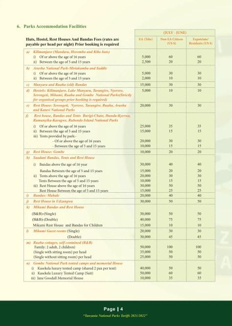 Mikumi National Park Fees 2021/2022: Park Accommodation Facilities