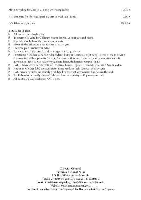 TANAPA park fees 2019/2020 page 5