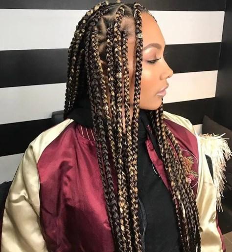 Mixed Color braids on light skin - dark and blonde box braids