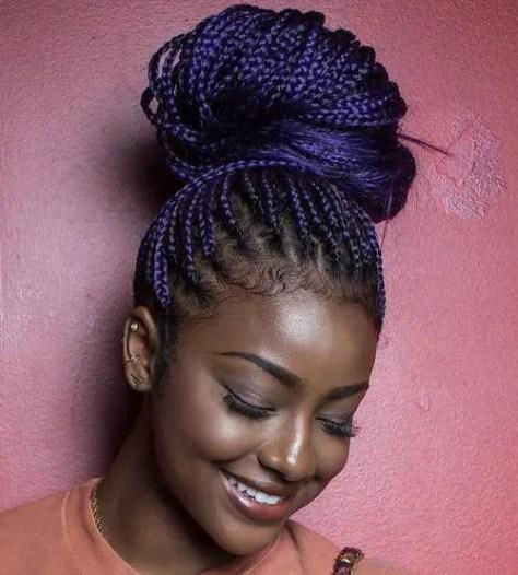 Mixed color blue braids
