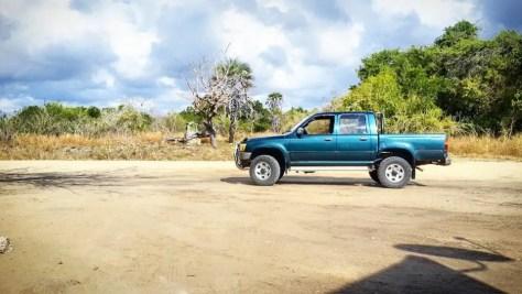 Blue Pickup Truck in Saadani National Park, Tanzania