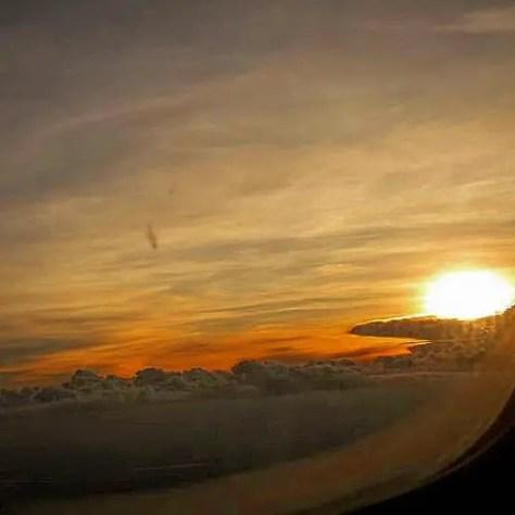 Sunset in the Air, Flying to Nairobi, Kenya