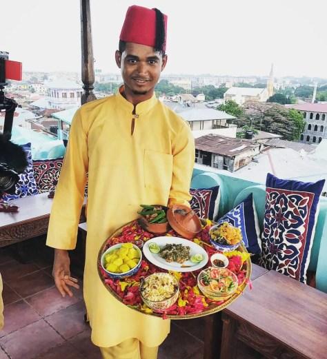 Waiter at Tea House Restaurant, Emerson on Hurumzi - dinner in Stone Town before visiting Matemwe Hotels