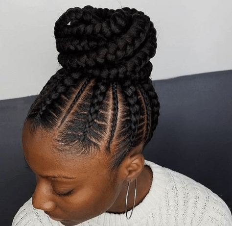 Abuja hairstyles in Nairobi/latest Ghanian lines 2020: Plaited updo with multithickness feeder lines