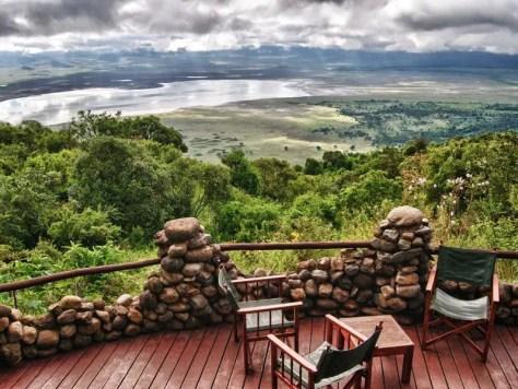 View from a balcony at the Ngorongoro Serena Safari Lodge
