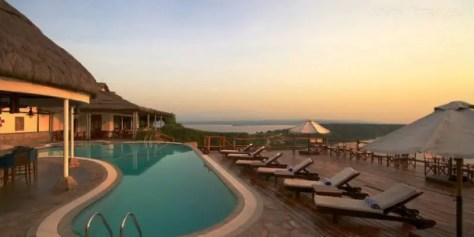 Pool deck at Mweya Safari Lodge, Queen Elizabeth National Park