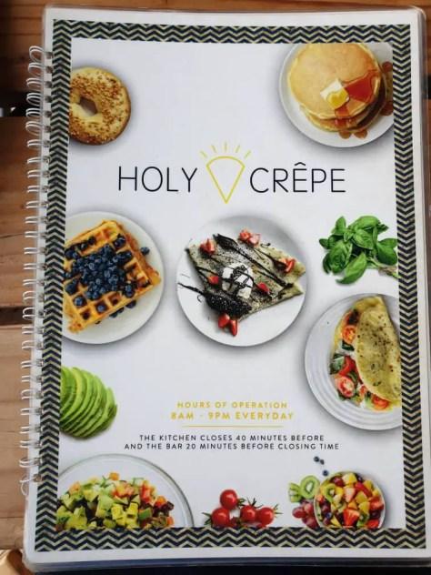 Holy Crepe Kololo menu front page