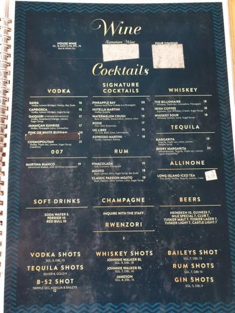 Holy Crepe Kololo menu alcholic beverages