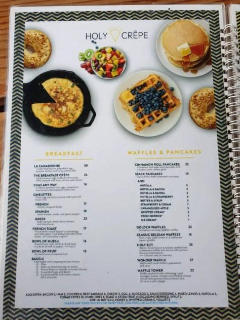 Holy Crepe Kololo menu breakfast, waffles, and pancakes