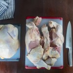 Raw Whole Chicken Before and After Being Cut Into Pieces