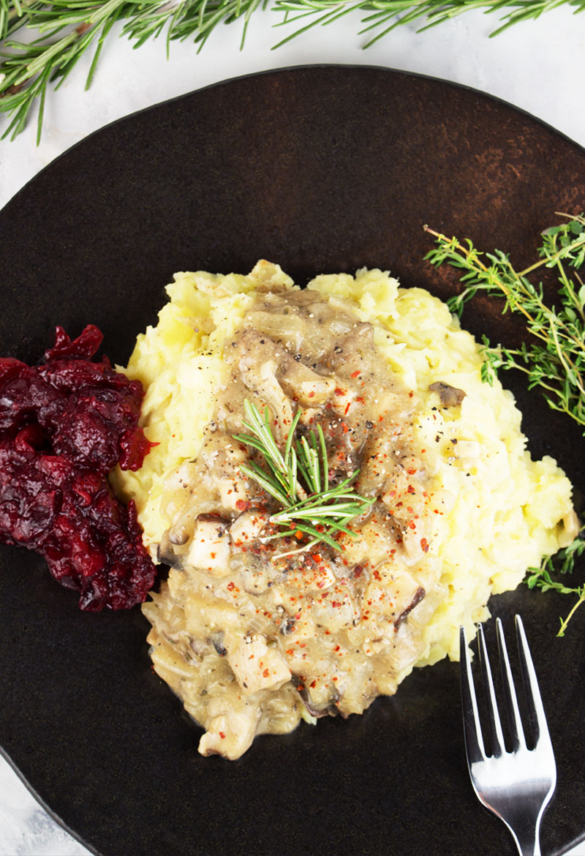 Mushroom gravy + creamy mashed potatoes