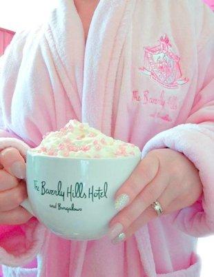BloggingNPink wearing a pink robe