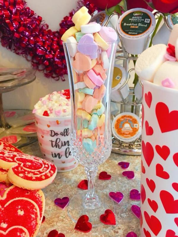 Heart Candies in a champagne flute