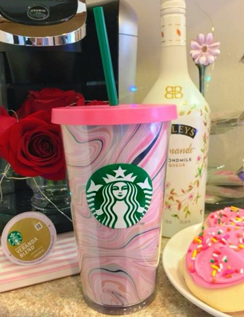 A close up of my new Starbucks tumbler.