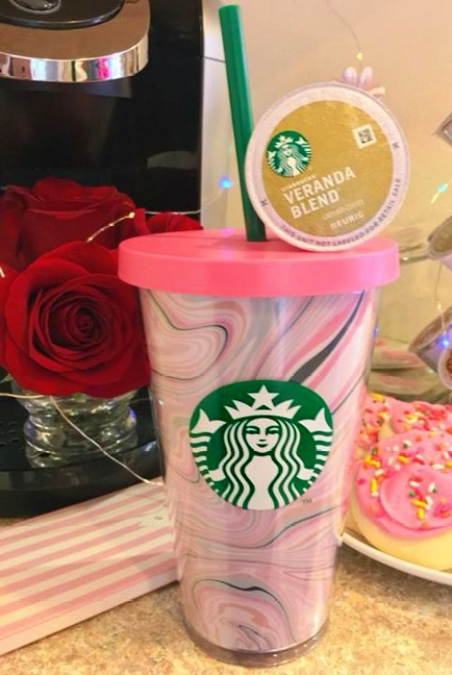 another view of my pink Starbucks tumbler