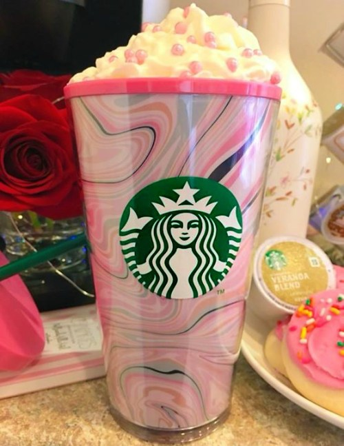 another delicious view of my pink Starbucks tumbler filled with whipped cream
