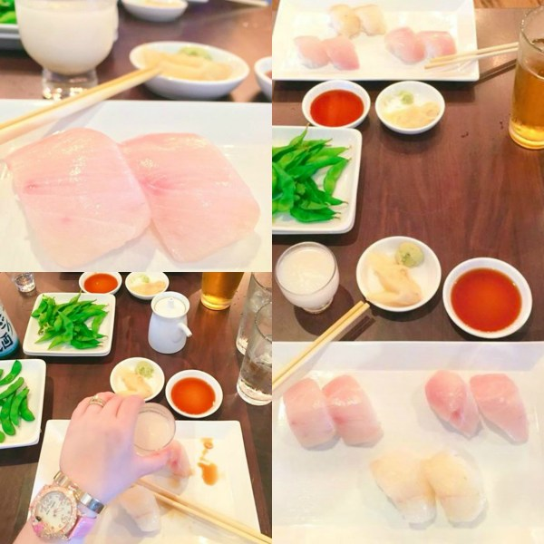 A second collage of Sugar fish sushi