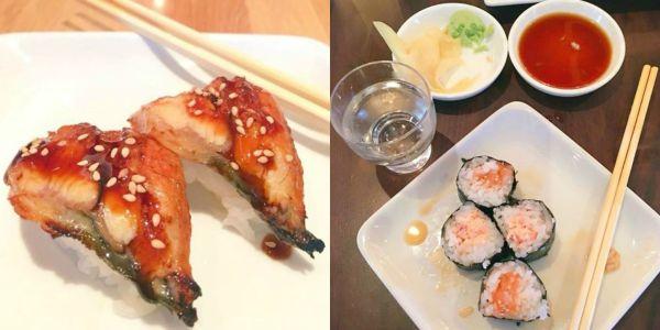 A collage with unagi sushi