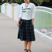 Plaid Midi Skirt. Devon Rachel