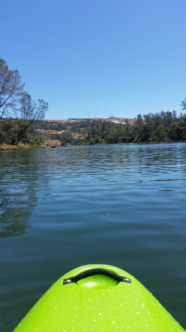 View from the surface of the Diversion Pool during its opening last weekend shows the top of the main Oroville Dam spillway and the emergency spillway weir, which is close as people could get.
