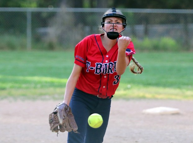Las Plumas High's Kylee Potes delivers a pitch in a game against Paradise. Potes earned second team All-Section honors. (Eddie Saltzman -- Contributed)