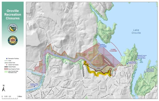 A stretch of the Dan Beebe Trail (highlighted in Yellow) which is across the Diversion Pool from the main Oroville Dam spillway, will be opening to the public Friday and should provide a view of the spillway construction work.