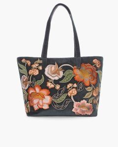 Accessories   Women s Show All   Chico s Floral Embroidered Velvet Tote