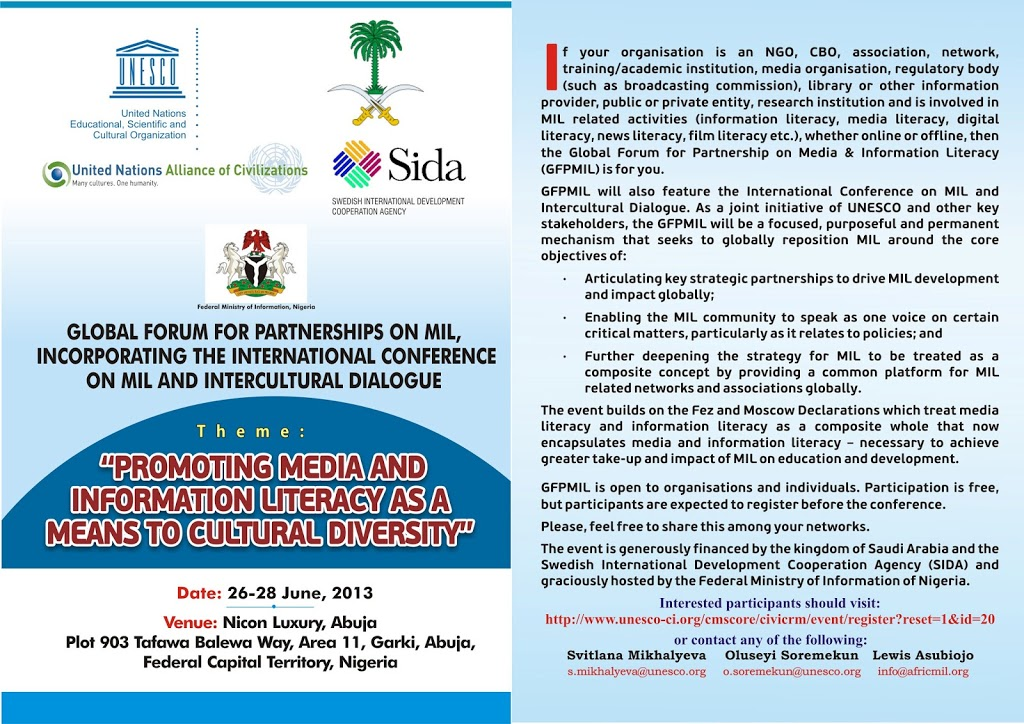 International Conference on Media and Information Literacy and Intercultural Dialogue (Nigeria, 26-28 June 2013)‏
