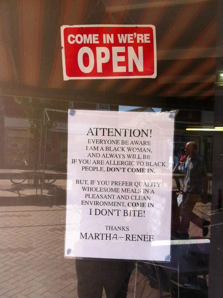 Café owner warns would-be customers who are 'allergic to black people' not to enter