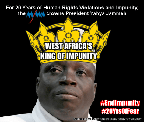 Yahya Jammeh, President of The Gambia, crowned 'West Africa's King of Impunity'