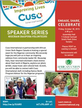 Nigerian Diaspora Volunteer Speaker Series: Cuso International & African Union Sixth Region Canada host Nigerian community in Toronto