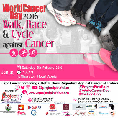 World Cancer Day 2016: Join the Walk, Race & Cycle against cancer #WorldCancerDay2016 #ProjectPinkBlue #WeCanICan @projectpinkblue