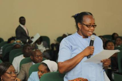 Oncology Nurse asking a question during the Sensitization Forum on Breast Cancer Navigation and Palliative Programme (BCNPP)