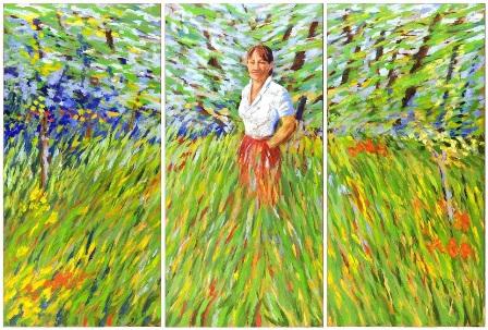 t_beese-Frau im Garten'Triptychon, Oe!l auf Leinwand, 155 x 228 cm