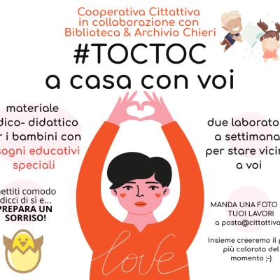 """CORONAVIRUS./ #TOCTOC – A CASA CON VOI"""": LO SPAZIO DEDICATO DALLA BIBLIOTECA DI CHIERI PER I BAMBINI CON BISOGNI EDUCATIVI SPECIALI"""
