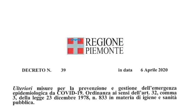 CORONAVIRUS: LE NUOVE ORDINANZE DELLA REGIONE PIEMONTE